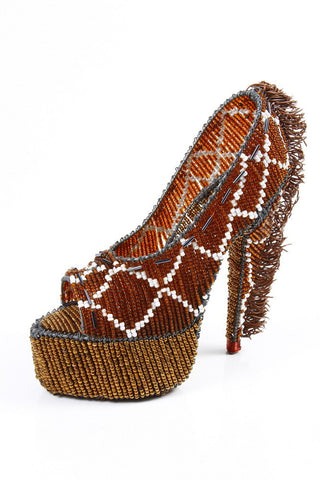 Shoe - Beaded, Ladies, Giraffe Style