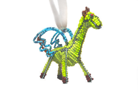 Ornament - Flying Giraffe, Beaded, Yellow