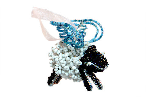 Ornament - Flying Sheep, Beaded, White and Blue
