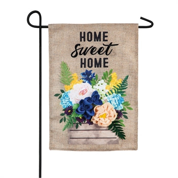 Wood Flower Crate Burlap Garden Flag