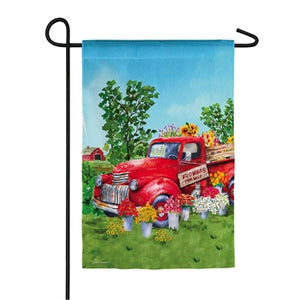 Red Flower Truck Suede Garden Flag
