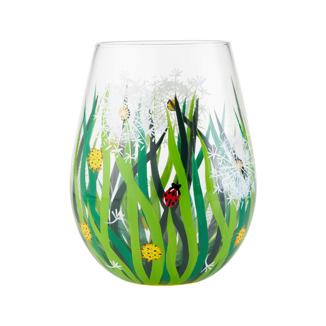 Dandelion Stemless Wine Glass
