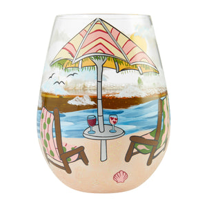 Beach Please Stemless Wine Glass