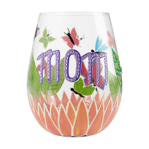 Mom You Helped Me Fly Stemless Wine Glass