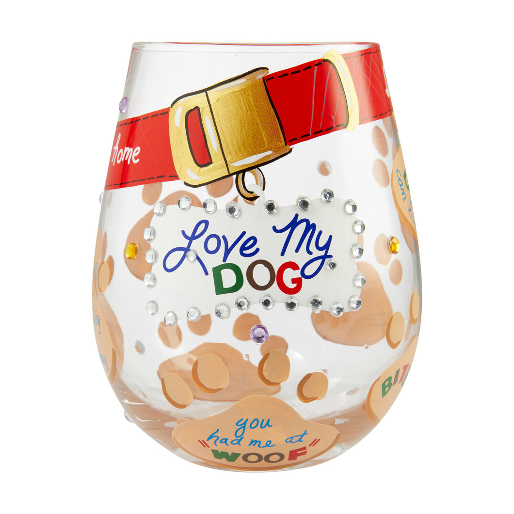 Love My Dog Stemless Wine Glass