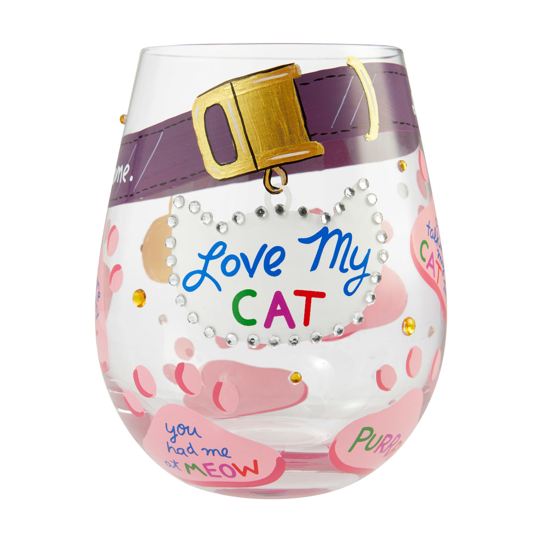 Love My Cat Stemless Wine Glass