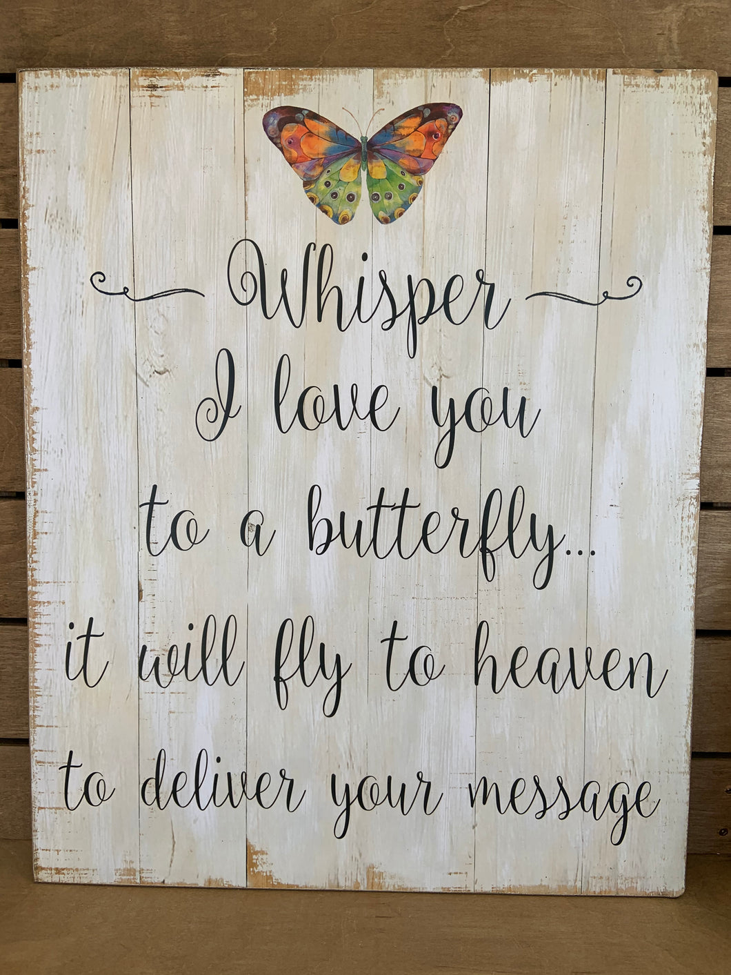 Whisper I Love You Butterfly Plaque
