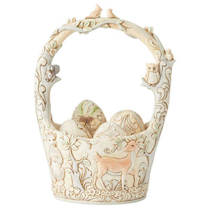 Jim Shore White Woodland Basket with Eggs