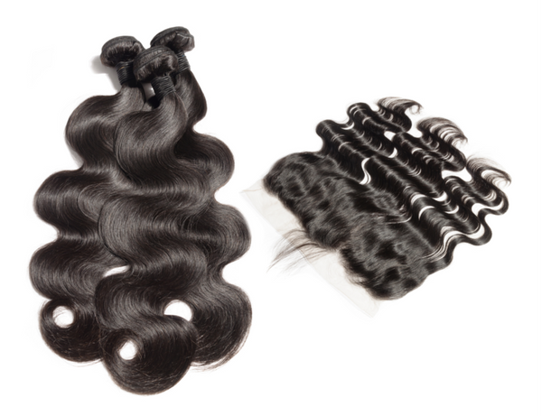 LUXURY 3 BODY WAVE BUNDLES WITH lACE FRONTAL