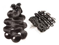 LUXURY 3 BODY WAVE BUNDLES WITH lACE FRONTAL - vickyboateng