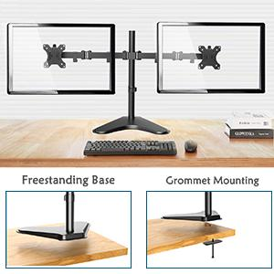 Dual VESA Monitor Heavy Duty Desk Stand with cable management New Monster Monitors