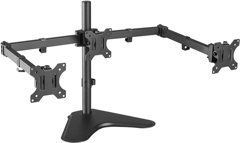 "Triple LCD Monitor Desk Mount Stand, Heavy Duty Fully Adjustable fits 3 Three Screens up to 27"" New Monster Monitors"