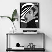 Shop Bella Hadid Framed Art Print Black & White | Vignettly