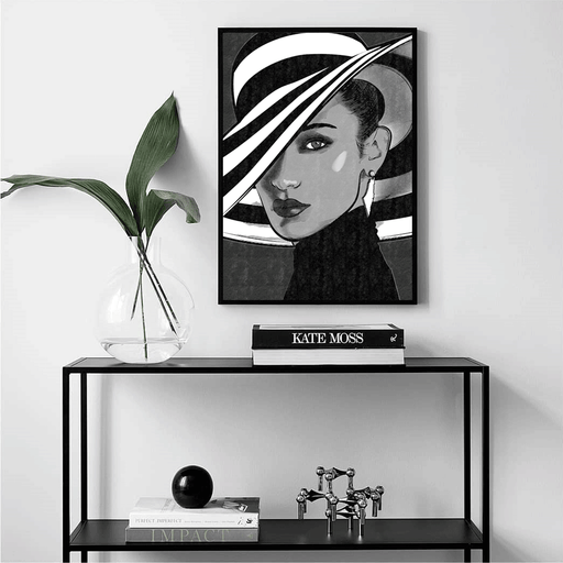 Shop Bella Hadid Framed Art Print Black & White | The Famous Faces