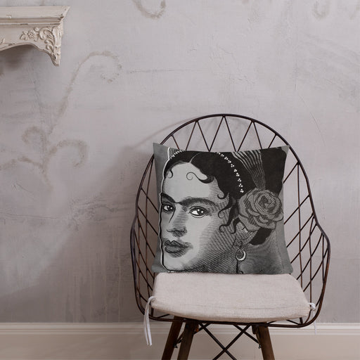Designer Pillows | Frida Kahlo Pillow Case - Black & White | The Famous Faces