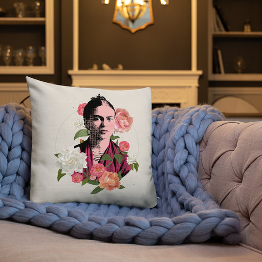 Designer Pillows | Frida Flowers Art Pillow Case - Cream | The Famous Faces