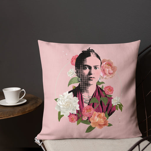 Designer Pillows | Frida Flowers Art Pillow Case in Pink | The Famous Faces