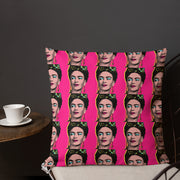 Designer Throw Pillows | Frida Kahlo Pop Art Throw Pillow Case - Pink | Vignettly