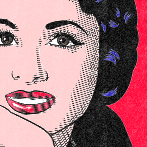 Closeup to Vintage Pop Art Poster Faten Hamama | The Famous Faces