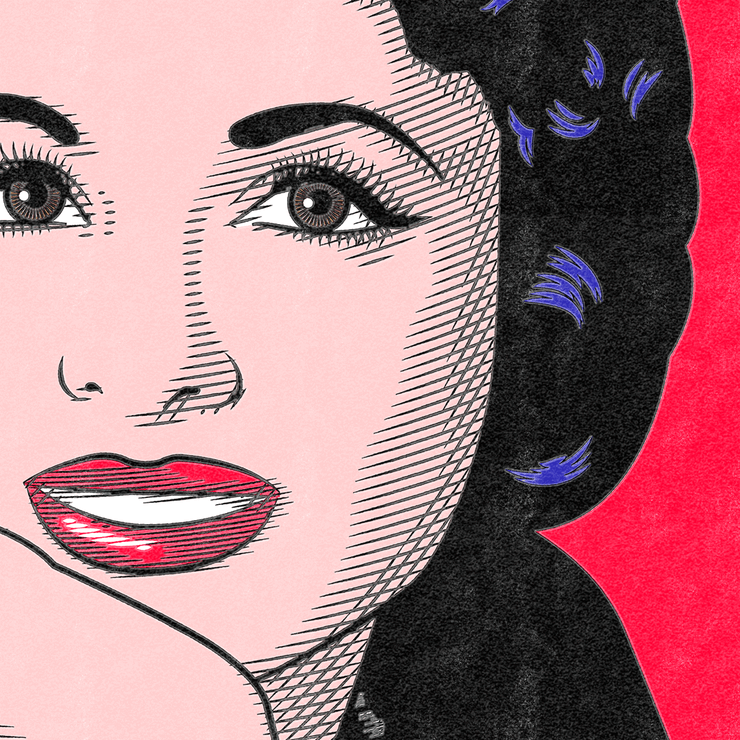 Closeup to Vintage Pop Art Poster Faten Hamama | Vignettly