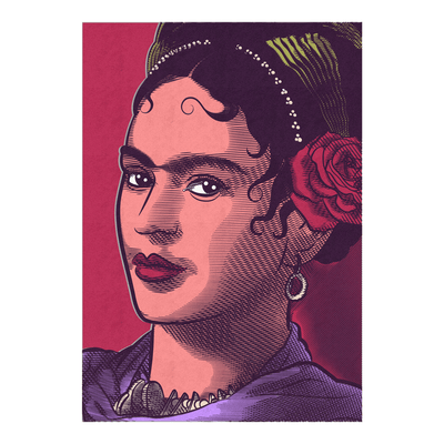 Frida Kahlo Illustrated Portrait Art Print | Vignettly