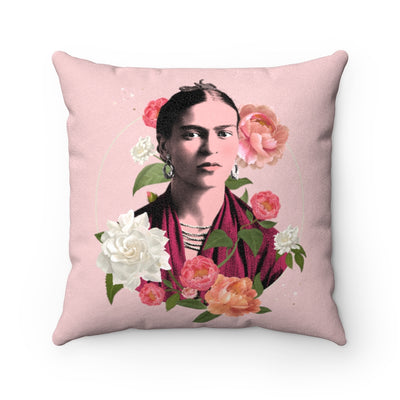 Frida Flowers Art Pillow Case in Pink | The Famous Faces