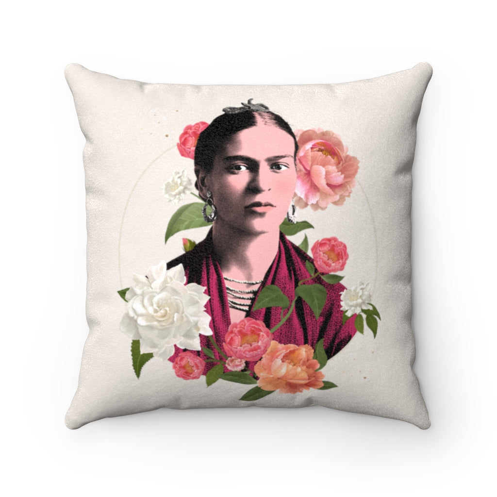 Frida Flowers Art Pillow Case - Cream | The Famous Faces