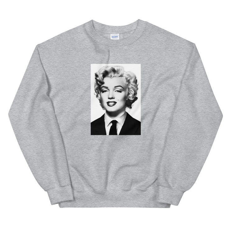 Marilyn Monroe in a Suit Sweatshirt - Black & White - Grey | Vignettly