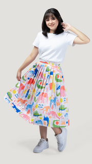 Zoo Glossy Pleated Skirt - Lucky Cla