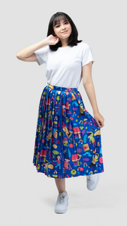 Rain Glossy Pleated Skirt - LuckyCla