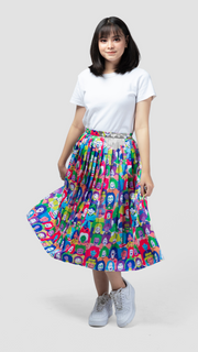 Happy Face Glossy Pleated Skirt - LuckyCla