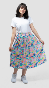 Ular Tangga Glossy Pleated Skirt - Lucky Cla