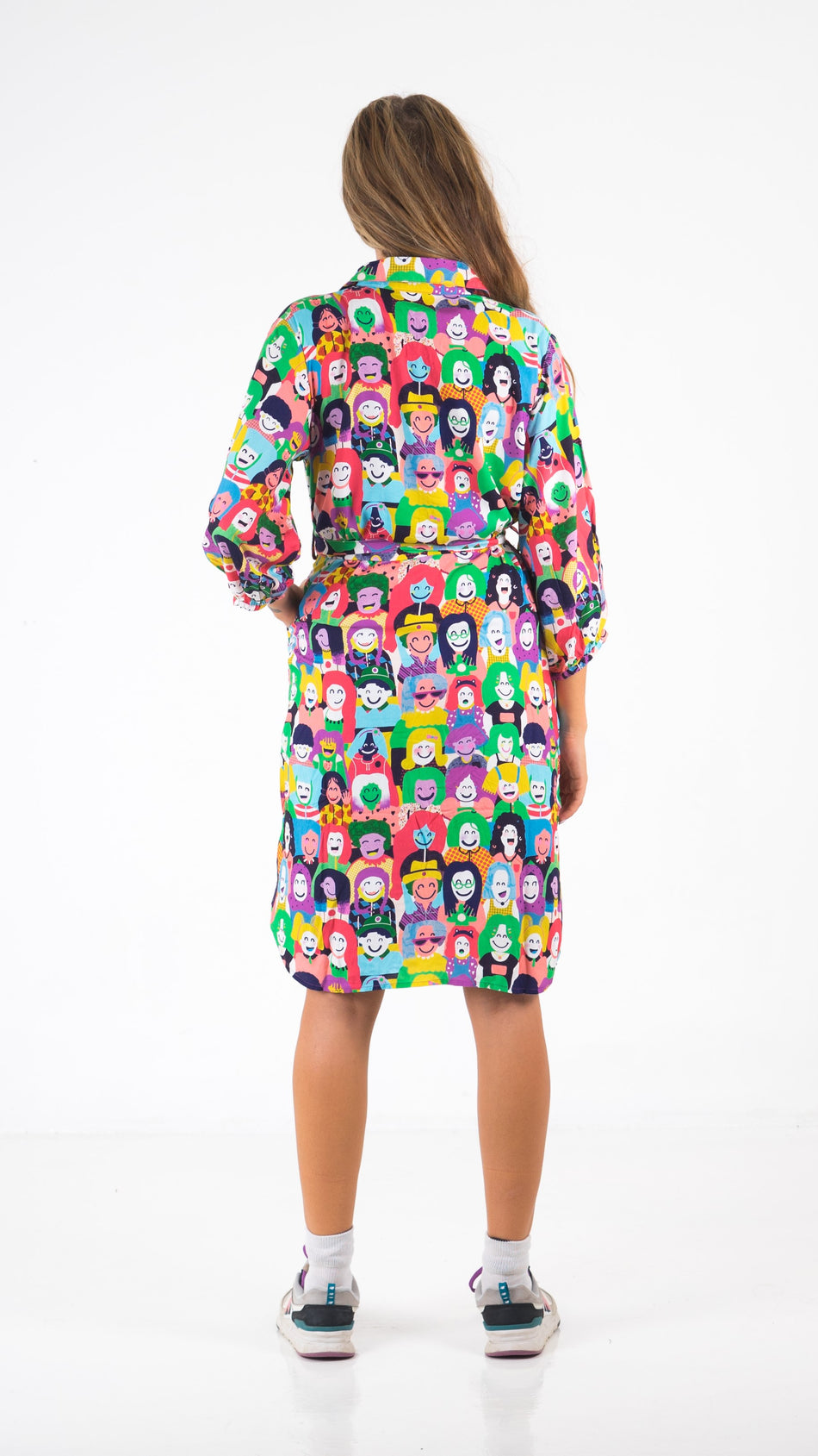 Happy Faces Shirt Dress - LuckyCla