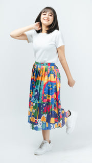 Animal Glossy Pleated Skirt - Lucky Cla