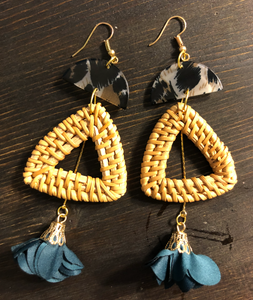 Rattan and Cloth Fan Drop Earrings