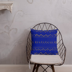 Blue and Gold tribal inspired Premium Pillow