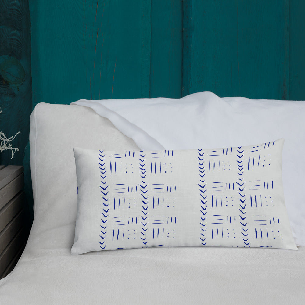 Tribal inspired blue and white pillow
