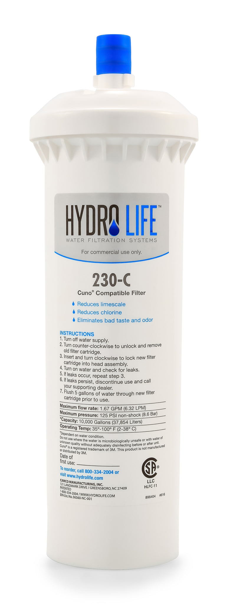 Hydro Life Commercial 230-C - Cuno Replacement Cartridge, LLC