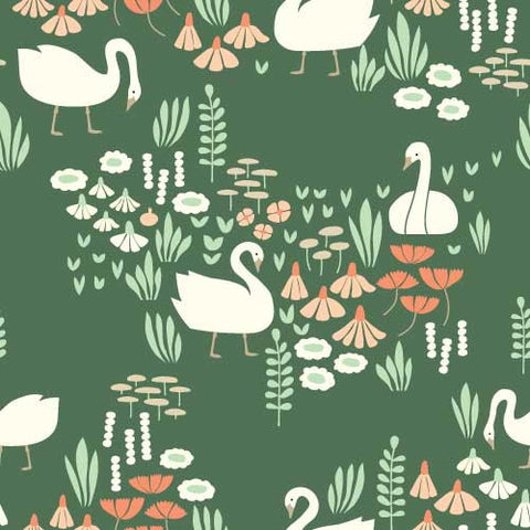 Park Life by Elizabeth Olwen - Royal Swans | Green