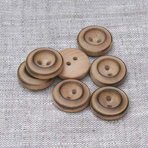 Double Rim Button (2912) Burntwood - 6 Pack