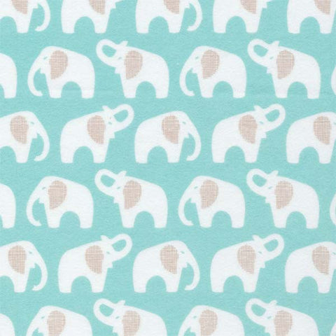 Cloud9 Flannel - Elephants | Turquoise