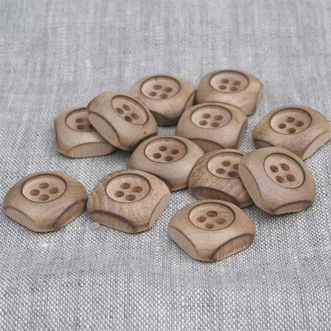 Domed Square / Deep Recess Wood Button | HoneyBeGood