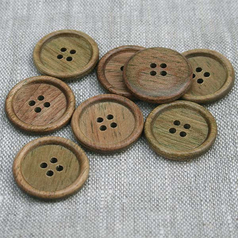 Classic English Rim Wood Button (4162) Astrowood (green hue)