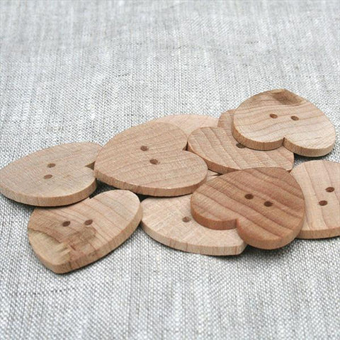 "1/2 "" Heart Button Natural - 6 Pack"