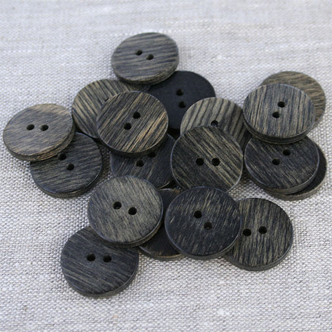 Poker Chip Wood Button in Black Finish | HoneyBeGood