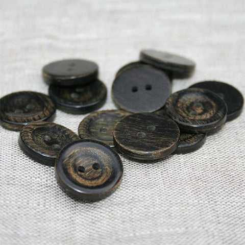 Slight Bevel / Flat Back Wooden Button in Black Finish | HoneyBeGood