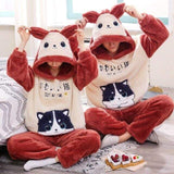 Cat couple pajamas Color red