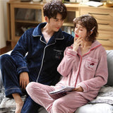 Winter christmas couple pajamas long sleeved