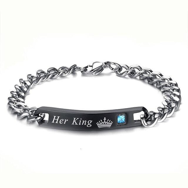 Crown his queen and her king matching engraved bracelets