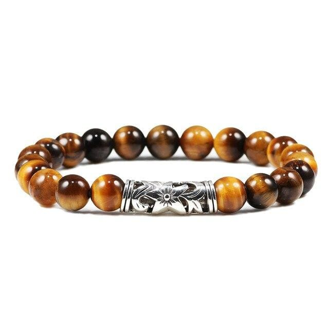 Natural Stone Tiger Eye Men Bracelet Charm Sliver Owl Weathered Stone Couple Distance Beads Bracelet Buddha Prayer Jewelry Gift